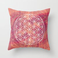 flower of life Throw Pillows featuring Life Flower by shutupbek