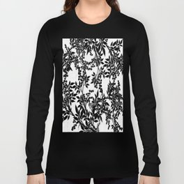 Toile Black and White Tangled Branches and Leaves Long Sleeve T-shirt