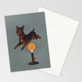 Dog Jumping Over Candle Stationery Cards