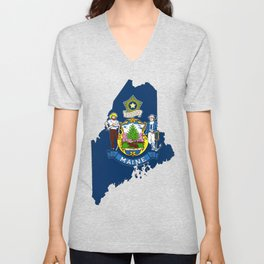 Maine Map with Flag of Maine Unisex V-Neck