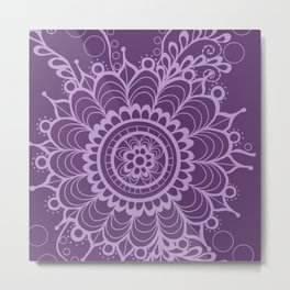 Lavender Dreams Flower Medallion - Medium with Light Outline Metal Print