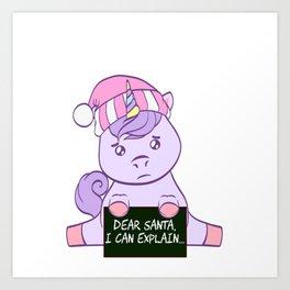 Colorful Unicorn Dear Santa I Can Explain Naughty List Christmas Xmas Holiday Season T-shirt Design Art Print