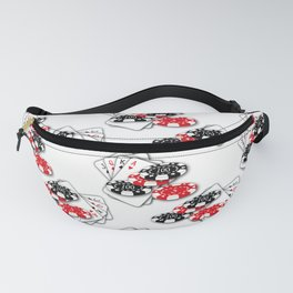 Playing Cards and Casino Chips on White Fanny Pack