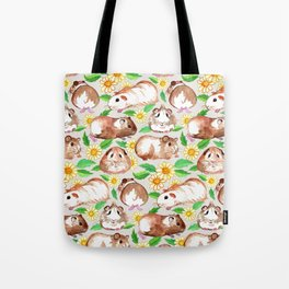 Guinea Pigs and Daisies in Watercolor Tote Bag