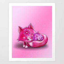 Mommy fox with Baby Art Print
