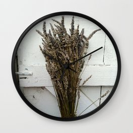 Dried lavender on the fence Wall Clock