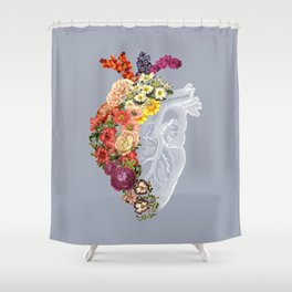Flower Heart Spring Light Grey Shower Curtain