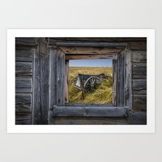 Old Farm Wagon viewed through a Barn Window on the Prairie Art Print