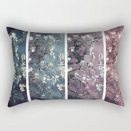Vincent Van Gogh : Almond Blossoms Panel aRt Dark Pink Eggplant Teal Rectangular Pillow