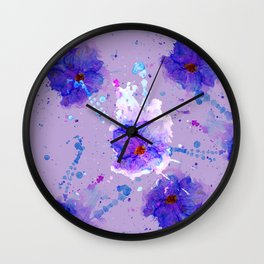 Violet Watercolor Flower Wall Clock
