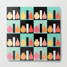 Three Vases Peach Pink Orange Pattern Metal Print