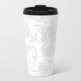 Vintage of white elegant floral damask pattern Travel Mug