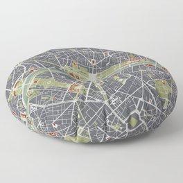 Paris city map engraving Floor Pillow