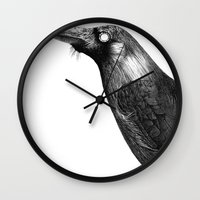 crow Wall Clocks featuring Crow by asli yazicioglu