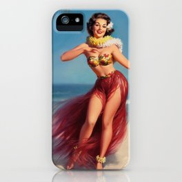 Hula Girl Vintage Pin Up Art iPhone Case