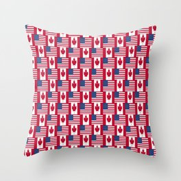 Mix of flag: Usa and Canada Throw Pillow