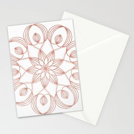 Rose Gold Mandala Flower on White Stationery Cards
