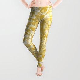 Floral Yellow Dahlias Leggings