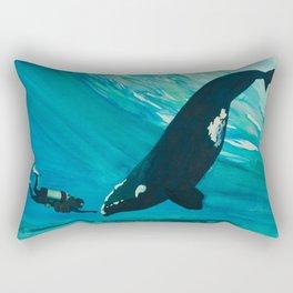 Whale & Diver Rectangular Pillow