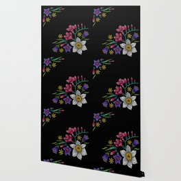 Embroidered Flowers on Black Corner 02 Wallpaper