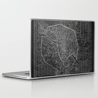 paris map Laptop & iPad Skins featuring Paris map by Le petit Archiviste