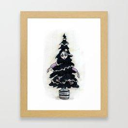 Black Xmas Tree Framed Art Print
