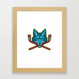 Coyote Ice Hockey Sports Mascot Framed Art Print