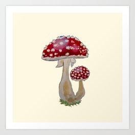 Fly Agaric Cream Art Print
