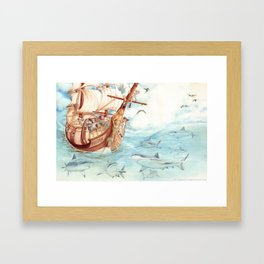 Observing Sharks Framed Art Print