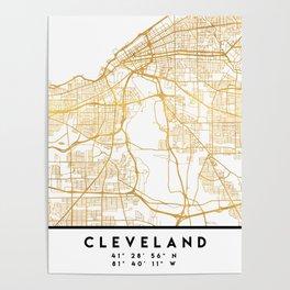 CLEVELAND OHIO CITY STREET MAP ART Poster