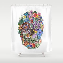 tropical floral skull 4 Shower Curtain