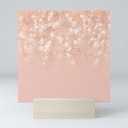Elegant coral rose gold white ombre floral Mini Art Print