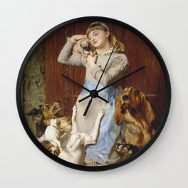 Briton Riviere - Girl With Dogs Wall Clock
