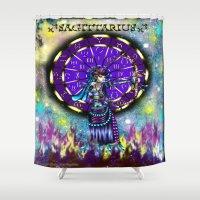 sagittarius Shower Curtains featuring Sagittarius by Lady Amethystine