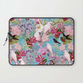 Vintage & Shabby Chic - Pink Tropical Birds and Orchid Flower Pattern Laptop Sleeve