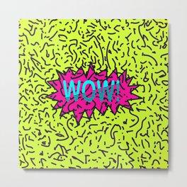 Neon Retro 80's 90's Scribbled Wow! Typography Metal Print
