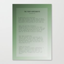 The Four Agreements Green Background Canvas Print