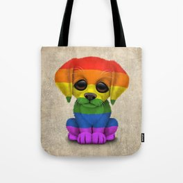 Cute Puppy Dog with Gay Pride Rainbow Flag Tote Bag