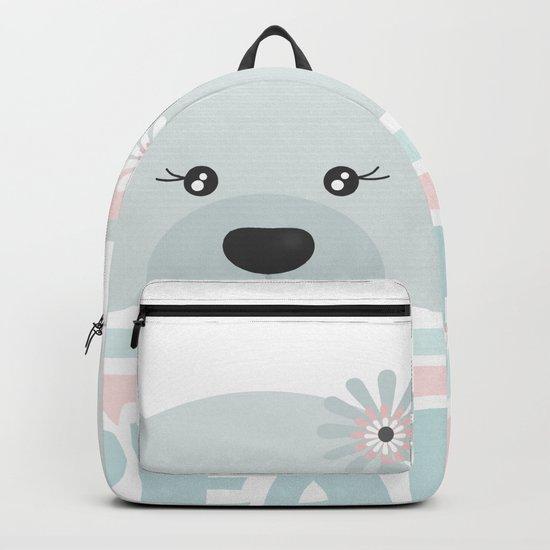A curious bear . Backpack