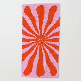 Retro Sun Vintage 70s  Beach Towel