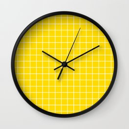 Sizzling Sunrise - yellow color - White Lines Grid Pattern Wall Clock