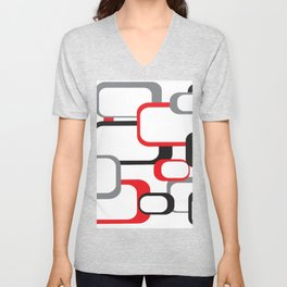 Red Black Gray Retro Square Pattern White Unisex V-Neck