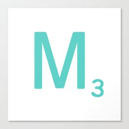 Blue Letter M Scrabble Tiles Canvas Print