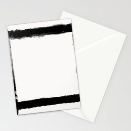 Square Strokes Black on White Stationery Cards
