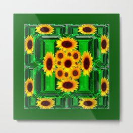 SPRING GREEN YELLOW FLOWERS  ART DECORATIVE  DESIGN Metal Print