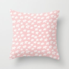 Stars on pink background Throw Pillow
