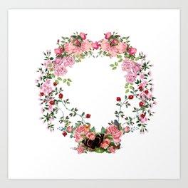 Glitchy Floral Wreath - Blank Art Print