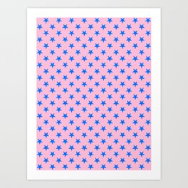 Brandeis Blue on Cotton Candy Pink Stars Art Print