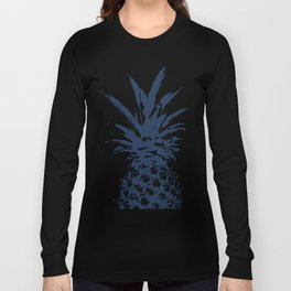 Half dark Blue Pineapple duo tone vector Long Sleeve T-shirt