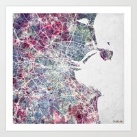 dublin Art Prints featuring Dublin by MapMapMaps.Watercolors